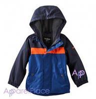 OshKosh Куртка на мальчика на флисе синяя с оранжевой полосой 2-5
