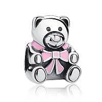 Серебряный шарм Пандора (Pandora) медвежонок девочка