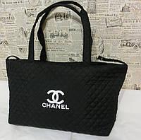 Стеганая женская сумка Chanel тканевая