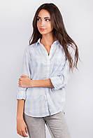 Рубашка женская светлая в клетку AG-0003601 (Бело-голубой)