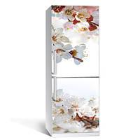 Интерьерная виниловая наклейка на холодильник Вишневый сад (пленка самоклеющаяся фотопечать) глянцевая без ламинации 600*2000 мм