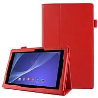 Красный чехол на Sony Xperia Tablet Z2 из синтетической кожи.