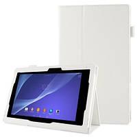 Белый чехол на Sony Xperia Tablet Z2 из синтетической кожи.