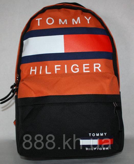 Городской рюкзак TOMMY HILFIGER оранжевый, рюкзак принт, рюкзак для девочки, рюкзак для мальчика не оригинал, фото 1