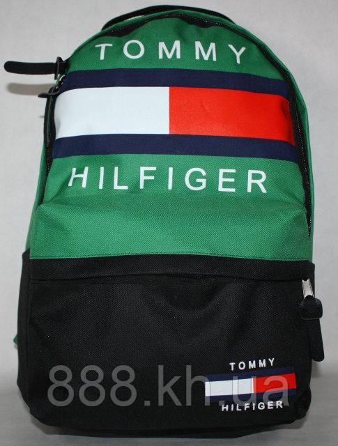 Городской рюкзак TOMMY HILFIGER зеленый, модный рюкзак, стильный рюкзак, рюкзак унисекс не оригинал, фото 1