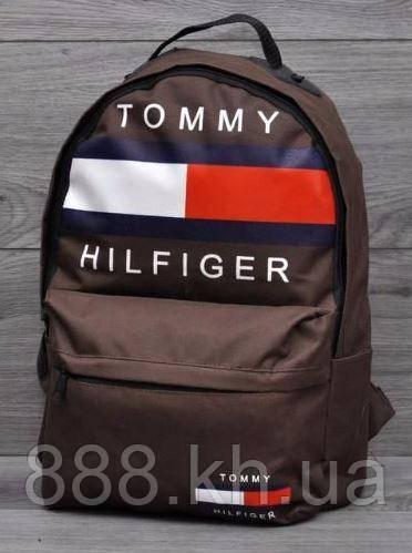 Городской рюкзак TOMMY HILFIGER коричневый, стильный рюкзак, рюкзак принт, рюкзак томми хилфигер не оригинал