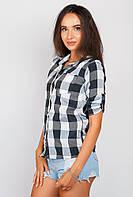 Рубашка женская в клетку AG-0003933 (Черно-белый)