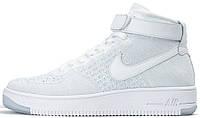 Мужские высокие кроссовки Nike Air Force 1 Ultra Flyknit Mid White (Найк Аир Форс) белые