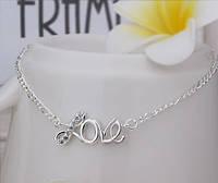 """Стильный летний женский браслет на ногу покрытый стерлинговым серебром """"Love is"""""""