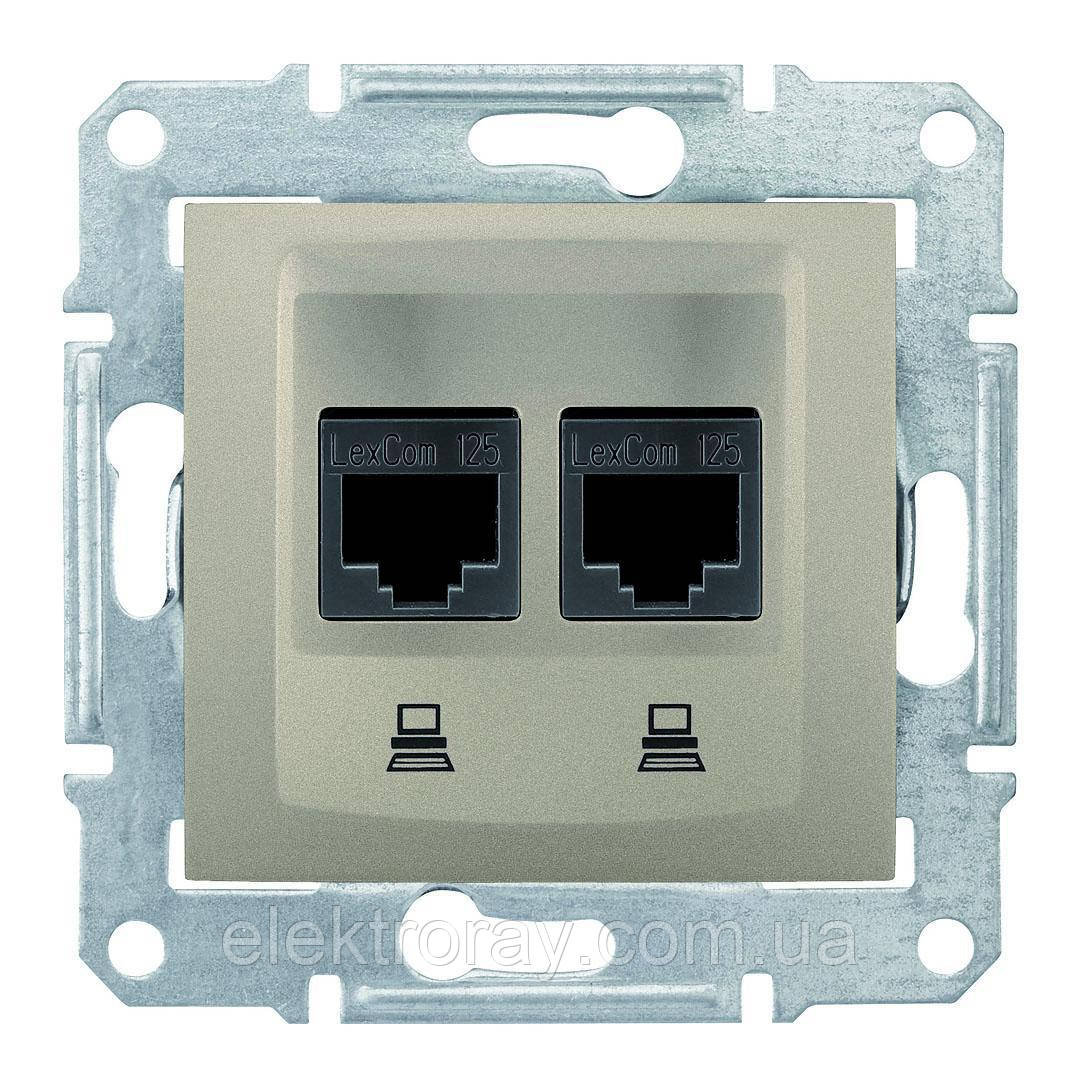 Двойная розетка компьютерная (2 x  CAT5) Schneider Sedna титан