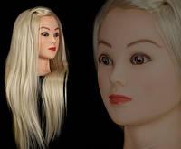 Учебная голова манекен для плетения 30% натуральных волос,длина 55-60 см, цвет блон