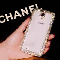 Чехол для Samsung S4 I9500 прозрачный с кристаллами, фото 1