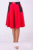Стильная женская юбка-полусолнце красного цвета, р.52 код 3709М