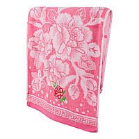 Розовое махровое полотенце для лица Нежная роза