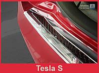 Защитная накладка на бампер с загибом Tesla Model S Liftback сталь + карбон red