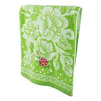 Зеленое махровое полотенце для лица Нежная роза