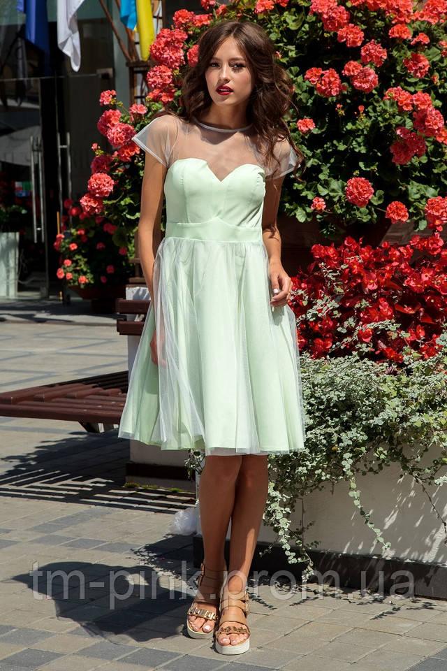Коктейльна сукня оливкова с фатіном