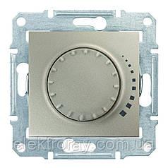 Диммер, светорегулятор поворотно - нажимной индуктивный 25-325 Вт проходной Schneider Sedna титан