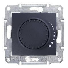 Диммер, светорегулятор поворотно - нажимной индуктивный 25-325 Вт проходной Schneider Sedna графит