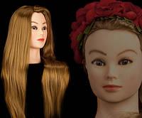 Учебная голова манекен 30% натуральных волос,длина 55-60 см, цвет рыжий