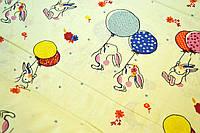 """Польская хлопковая ткань """"кролики с шариками на молочном"""""""