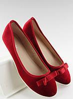 Красные женские велюровые балетки с бантом Ruvajda. Очень нарядные!