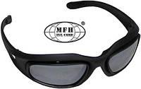 """Армейские спортивные очки чёрные с 3 дополнительными стёклами MFH """"Assault"""" 25863"""