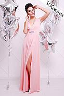 Элегантное платье в пол материал микромасло, пояс украшен брошью, с вырезом на ноге. Цвет розовый