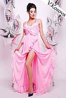 Красивое платье в пол материал двойной шифон с элегантными воланами, на ноге с вырезом. Цвет розовый