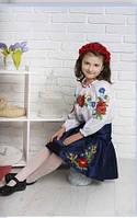 """Оригинальная вышиванка """"Маков цвет"""" на девочку"""