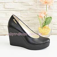 Кожаные женские туфли на устойчивой высокой платформе. 38 размер