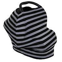 Милкснуды Накидка для кормленияДля кормящих женщин грудью Молочные фартуки и шарфы на коляску - люльку Чорно-сіра смужка