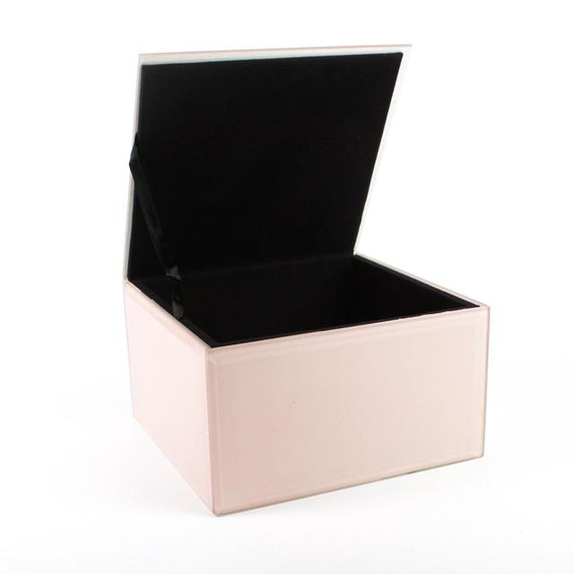 Шкатулка стеклянная Розовая 13,7х14,1х8,2 см