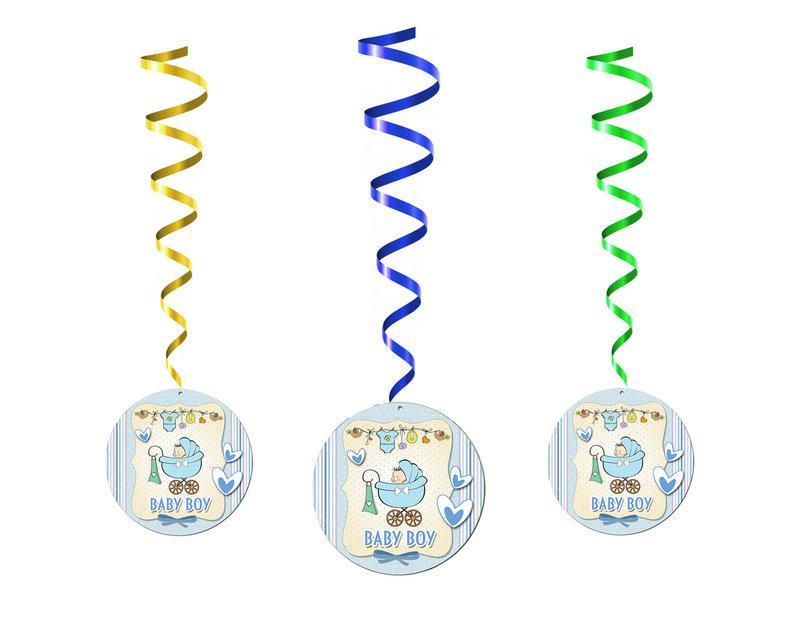 """Спиральные гирлянды - подвески на выписку мальчика из роддома """"Baby Boy"""", 5 шт."""