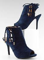 Темно-синие женские ботильоны на шпильке с открытой пяткой и носком Parvajn