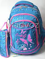 Школьный рюкзак для девочки с пеналом Butterfly бабочка зел.