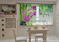 Фотошторы Малиновые орхидеи в кухне 1,5м х 2,5м