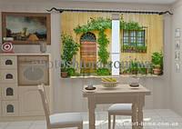 Фотошторы Фасад в цветах для кухни 1,5м х 2,5м