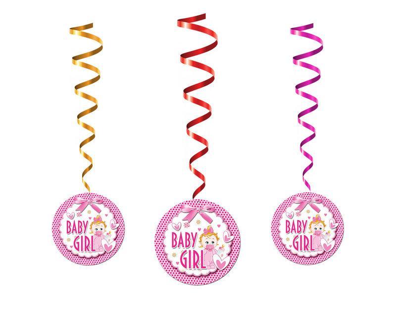 """Спиральные гирлянды - подвески на выписку девочки из роддома """"Baby Girl"""", 5 шт."""