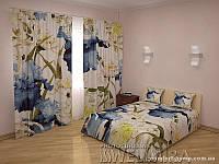 ФотоКомплект Хризантемы и ирисы шторы + покрывало, арт. FRA-10 001287