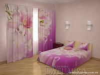 ФотоКомплект Лилии Афродиты шторы + покрывало FRA-10001298