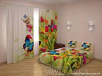 ФотоКомплект Тюльпаны и бабочки шторы + покрывало FRA-10001319