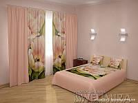 ФотоКомплект Тюльпаны шторы + покрывало FRA-10001320