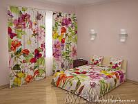 ФотоКомплект Вальс цветов шторы + покрывало FRA-10001321