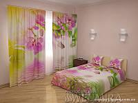 ФотоКомплект Летние орхидеи шторы + покрывало FRA-10001669
