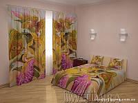 ФотоКомплект Рисованные цветы шторы + покрывало FRA-10001673