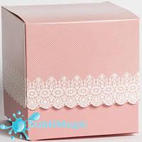 Упаковка подарочная для чашки с принтом (ажур) Розовая