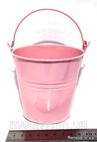 Ведерко декоративное 9,5 см. розовое