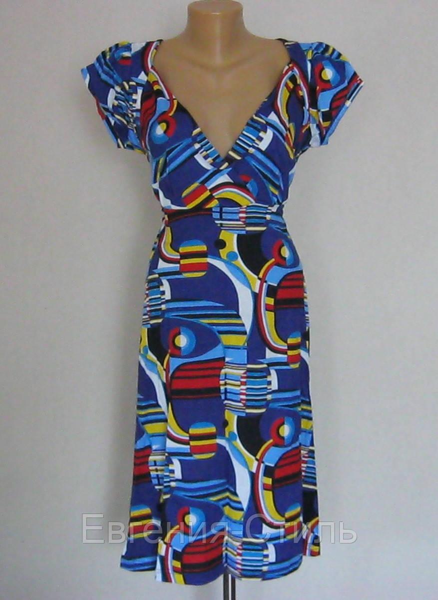 Летнее трикотажное женское платье с завышенной талией