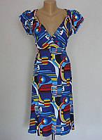 Летнее трикотажное женское платье с завышенной талией, фото 1